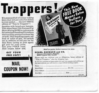 1940 Tips to Trappers Sears Roebuck Fur Pelt Book Print Ad