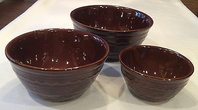 Set of 3 Vintage 1950s MARCREST DAISY DOT BROWN Stoneware Nesting Mixing Bowls