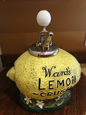 REDUCED! 1940s WARDS Lemon Crush Countertop Soda Syrup Dispenser & Pump