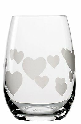 Stoelzle 355 Ml Faeries Crystal Glass L'Amour Glass, Etched Glass Heart Pattern
