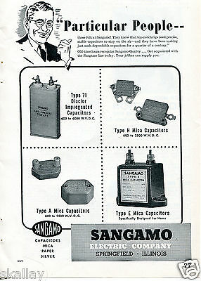 """1948 Print Ad of Sangamo Electric Co Capacitors """"Particular People"""""""