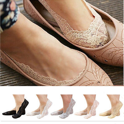 Ladies Lace Invisible Socks Ladies Footsie Liner Boat Socks Anti-slip Silicone