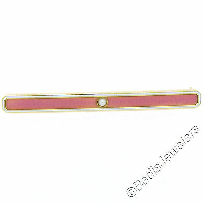 Vintage 14K Yellow Gold White & Pink Enamel w/ Seed Pearl Long Bar Pin Brooch