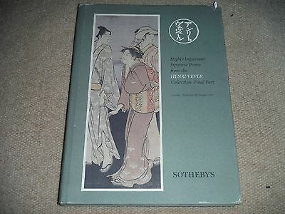 Highly Important Japanese Prints Sotheby's Auction Catalog 1997 Henri Vever