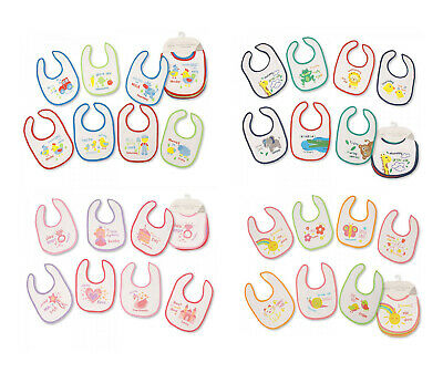 Baby Boys Girls Beautiful Assorted Pack Of 7 Days Bibs Terry Waterproof Back