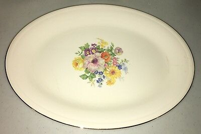 Antique Edwin M Knowles Semi Vitreous Cream Flowered Platter