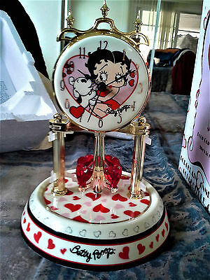 Betty Boop Anniversary Collectible Clock, Porcelain Base & Dial, Glass Dome MIB