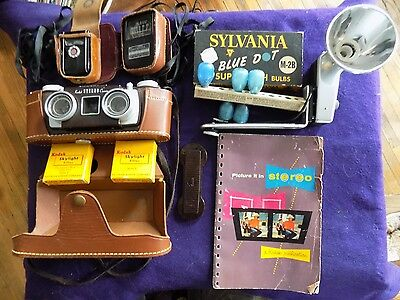 Vintage 1950s KODAK Stereo 3-D camera w twin 35MM F/3.5 lenses w Case  and Acc.