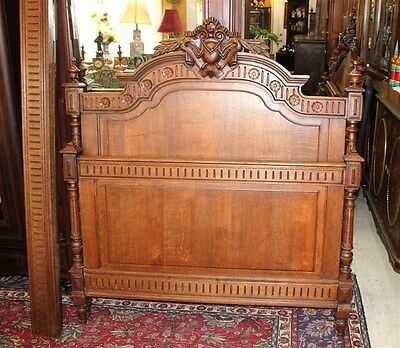 Beautiful French Antique Carved Solid Oak Louis XVI Full Size Bed.