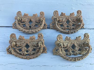Vintage Antique Cast Iron Drawer Pulls Very Heavy And Ornate Lot 1