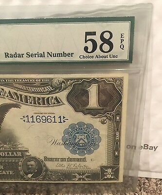 "1899 $1 One Dollar Silver Certificate ""black Eagle"" Radar Serial Number Rare"