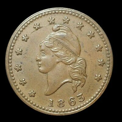 1863 Civil War Token, Army & Navy IMO Uncirculated, Very Nice Collectible