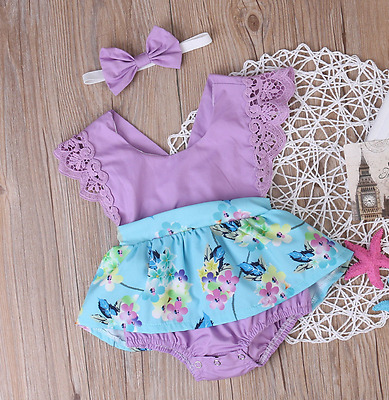 Summer Baby Girl Clothes Sleeveless Romper Dress+headband 2Pcs Outfits Sunsuit