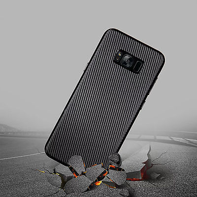 Luxury Slim Carbon Fiber Rubber Soft Back Case Cover For Samsung Galaxy S9 S8 S7