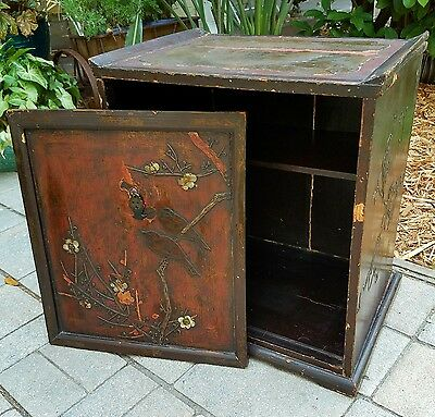 Antique Asian Japanese Box LAQUER ROSEWOOD INLAY CARVED ABALONE BIRDS DISPLAY