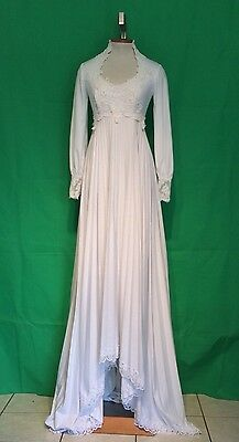 Vintage 70s WHITE Knit & IVORY Lace Hippie Wedding Dress ATTACHED Train S/M