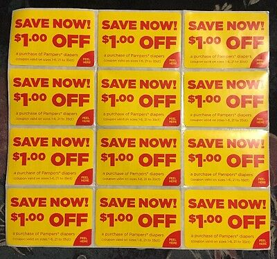 12 Pampers Diapers Coupons worth $1.00 each Save $12 Expires 9-30-17