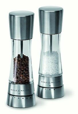 COLE and MASON DERWENT SALT and PEPPER MILL GRINDER STAINLESS GIFT SET [SILVER]