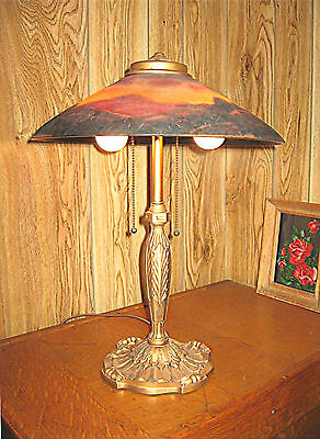 Antique Pittsburgh Reverse Painted Lamp - Signed - Unusual