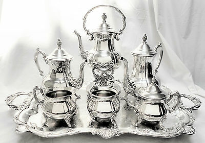 MAGNIFICENT!!! Atq 7pc TOWLE Slv Plated & Footed Ornate Coffee & Tea Service Set