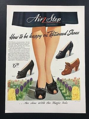 Air Step | 1943 Vintage Ad | 1940s Woman's Feet Fashion Shoes Heels