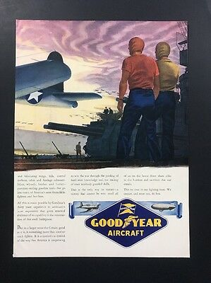 Good Year Aircraft | 1943 Vintage Ad | 1940s Blimp Airplane Color Illustration