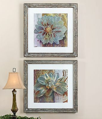 Two Large Reclaimed Wood Framed Prints / Pictures Wall Art Flowers Floral Decor