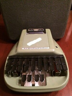 Vintage Green Secretarial Shorthand Machine With Black Case