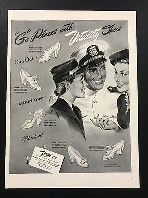 Vitality Shoes | 1943 Vintage Ad | 1940s Illustration WWII Armed Forces Uniform