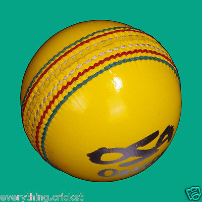 3 X INDOOR Yellow Cricket ball(s) Hand Sticthed Alum Tanned by OSA