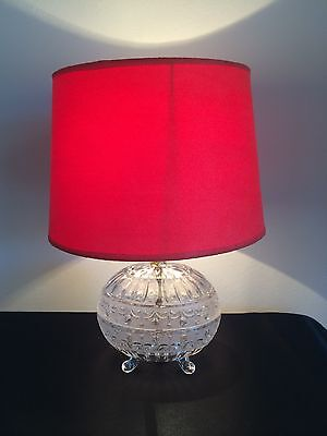 RARE LEAD CRYSTAL TABLE LAMP LIGHT ~ with RED SUEDE SHADE ~ SIMPLY BEAUTIFUL