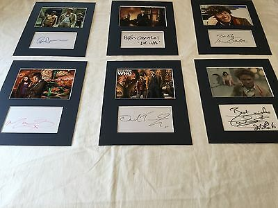 "6 x Dr. Who hand signed cuttings matted to 8""x10"" + Bonus Doctor Who pics"