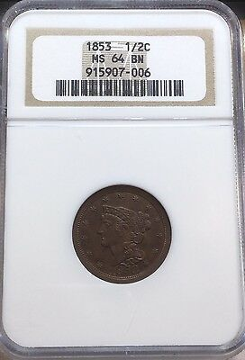1853 NGC MS 64 BN Braided Hair Half Cent Coin 1/2c