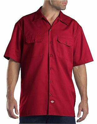 Dickies Mens English Red Short Sleeve Work Uniform Button Up Casual Shirt 1574
