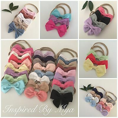 Newborn Girls Baby Toddler Small Fabric Bow Nylon Headband Hair Band Accessory