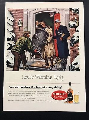 Schenley Whiskey | 1943 Vintage Ad | 1940s Stove Pipe War Bonds WWII