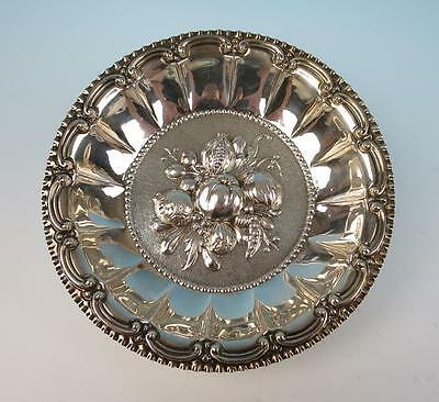 Vintage Italian Sterling Silver Repousse Bowl Fruit & Vegetables Florence Italy