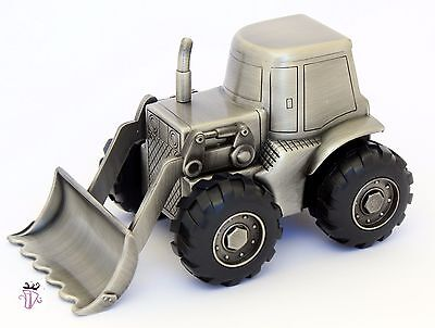 Boy Quality Pewter Tractor Money Box Bank Baby Shower Gift Idea Christening