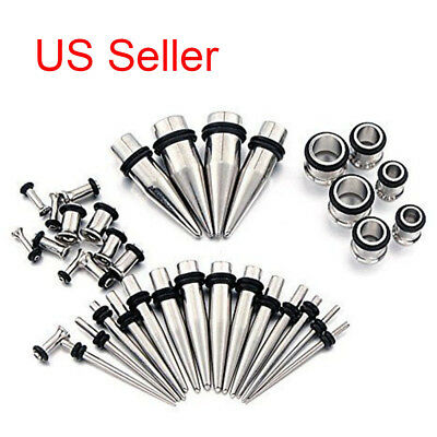 00G-14G Stretching Taper and Tunnel Starter Kit Stainless Ear 36 Piece Set Gauge
