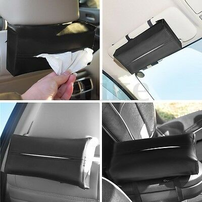 Auto Car Sun Visor Napkin Paper Tissue Box Holder Artificial Leather Accessories