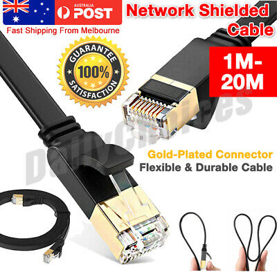5/10/20M CAT6 CAT7 RJ45 Cord Ethernet Network Lan Flat Shielded Cable Patch Lead