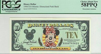 Disney Dollars $10 1998 Minnie Disneyland Park Back PCGS Graded 58 Choice @ New