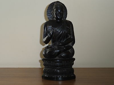 c.19th - Antique  Chinese Asian Wooden Wood Black Buddha Statue Figure Figurine