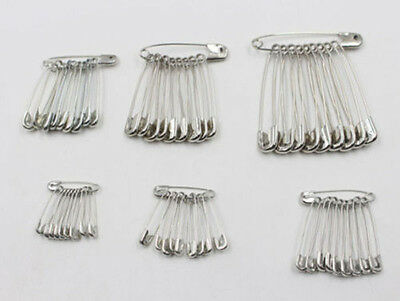 New 100Pcs Needles Safety Pins Silver Assorted Size Small Medium Large Sewing