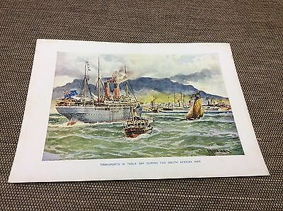 Antique colour print - Transports in Table Bay During The South African War