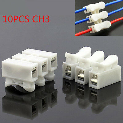 10PCS 10A Quick Fix Spring Clamp Terminal Block push-in screwless Wire Connector