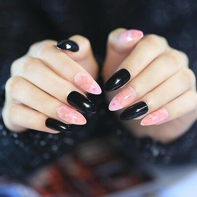 Medium Point Press On Nails Marble Pink Black Artificial Lady Fake Nail Tip Z402