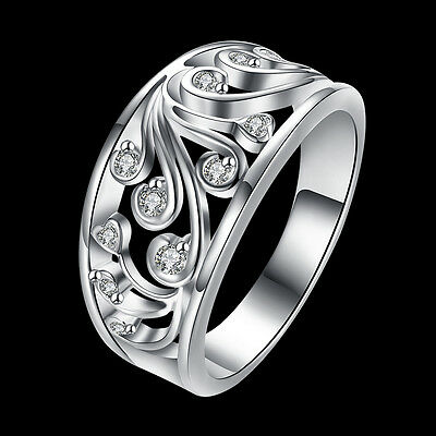 925 Silver elegant crystal Rings Jewelry  Fashion charms nice Cute for women