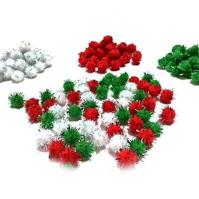 Glitter Tinsel Pom Poms 15mm - Choice of Red or White pompoms - Packs 50 to 500