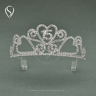 SWEETV Rhinestone Princess Crown Tiara Birthday Party Celebration Hair Jewelry